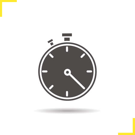 competitions: Stopwatch icon. Isolated stopwatch vector illustration. Drop shadow timer icon. Sport competitions time measurement tool. Stopwatch  concept. Vector timer. Silhouette stopwatch symbol