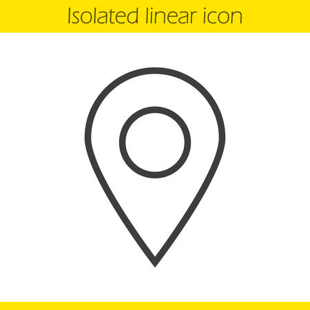 geolocation: Pinpointer linear icon. Location map pointer thin line illustration. Geolocation mark contour symbol. Vector isolated outline drawing