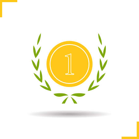 1st place: Gold medal icon. Drop shadow 1st place award silhouette symbol. Sport competitions winner medal in laurel wreath. Vector isolated illustration