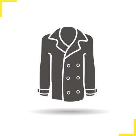 outerwear: Coat icon. Drop shadow jakcet silhouette symbol. Men and women seasonal leather outerwear. Coat  concept. Vector leather jacket isolated illustration