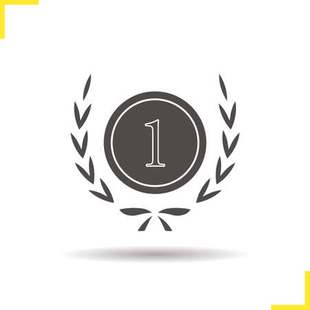 1st place: Winner icon. Drop shadow 1st place silhouette symbol. Sports competitions winner symbol. Tournament winner  concept. Vector 1st place isolated illustration