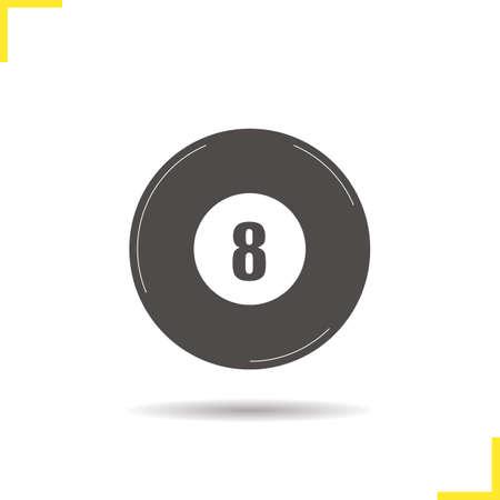 bola ocho: Ocho icono de la bola. Gota de sombra símbolo billar silueta. Equipo deportivo. Billar bola ocho concepto. billar ilustración vectorial aislado