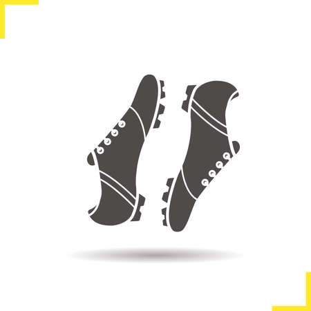 soccer boots: Soccer boots icon. Drop shadow football boots silhouette symbol. Football players footwear. Modern sportswear. Soccer boots  concept. Vector football boots isolated illustration Illustration