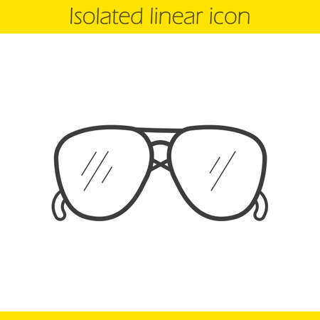 aviators: Sunglasses linear icon. Mens summer fashion accessory thin line illustration. Sun glasses contour symbol. Vector isolated outline drawing