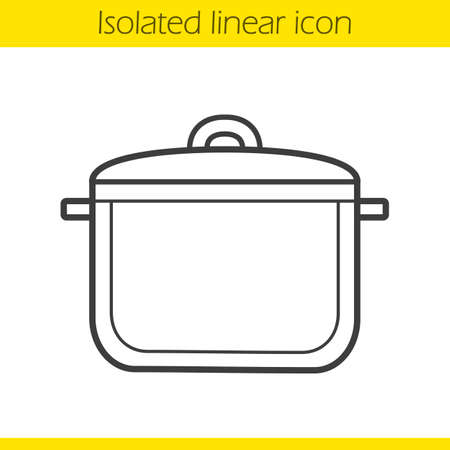 kitchen utensil: Pot linear icon. Kitchen utensil. Cooking instrument thin line illustration. Saucepan contour symbol. Vector isolated outline drawing