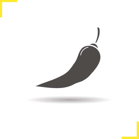isolated ingredient: Chili pepper icon. Drop shadow hot pepper silhouette symbol. Cooking ingredient. Mexican food. Spicy vegetable. Vector isolated illustration