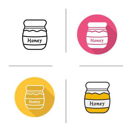 honey pot: Honey jar icon. Flat design, linear and color styles. Natural product. Honey pot isolated vector illustrations Illustration