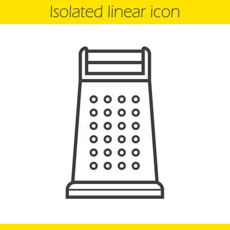 drawing instrument: Grater linear icon. Cooking instrument. Kitchen utensil thin line illustration. Stainless grater contour symbol. Vector isolated outline drawing Illustration