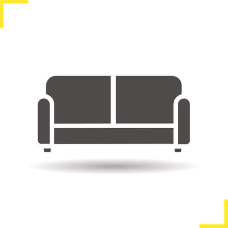 upholstered: Couch icon. Drop shadow upholstered sofa silhouette symbol. Modern comfortable furniture. House interior item. Vector isolated illustration Illustration