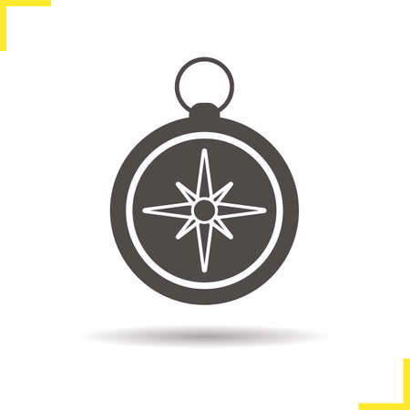 orientation: Compass icon. Isolated compass illustration. Drop shadow pocket compass icon. Navigation and orientation instrument. Compass  concept. Vector pocket compass. Silhouette compass symbol