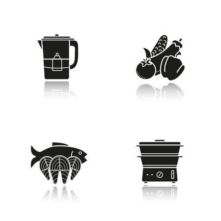 water filter: Steam cooking drop shadow black icons set. Vegetables, fish, water filter and steam cooker. Modern kitchenware. Steam cooking  concepts. Vector illustrations