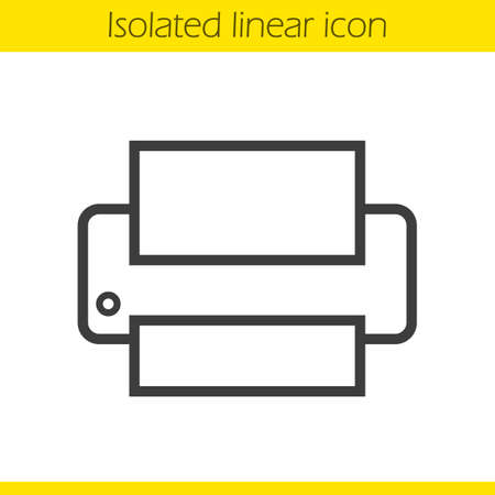 printer drawing: Printer linear icon. Modern office print equipment thin line illustration. Printer contour symbol. Vector isolated outline drawing Illustration