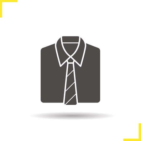 formal shirt: Shirt and tie icon. Drop shadow uniform silhouette symbol. Formal mens clothes. Shirt and tie  concept. Vector uniform isolated illustration