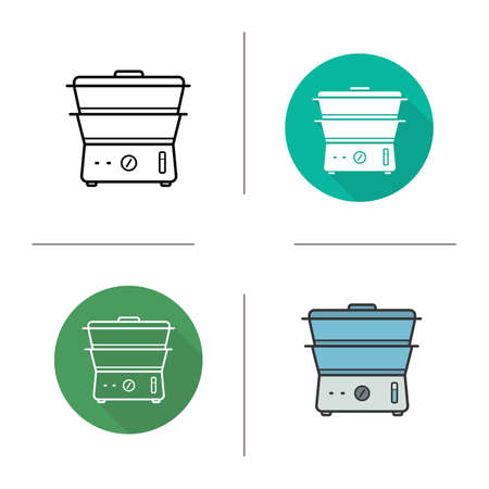 double boiler: Steam cooker icon. Flat design, linear and color styles. Modern kitchenware. Double boiler isolated vector illustrations Illustration