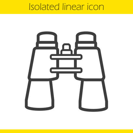Binoculars linear icon. Surveillance instrument. Tourists equipment thin line illustration. Binoculars contour symbol. Vector isolated outline drawing Illustration
