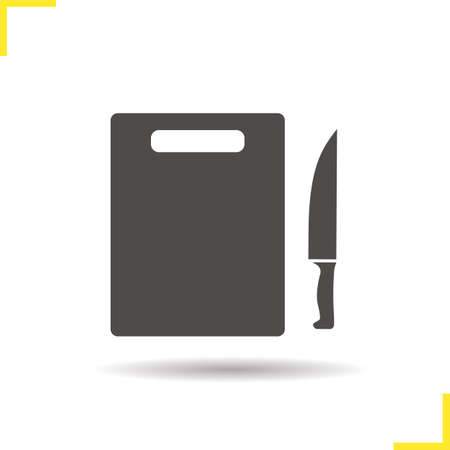 cutting board: Cutting board with knife icon. Drop shadow knife silhouette symbol. Cutting board with knife. Kitchen utensils. Chefs instruments. Cutlery. Cutting board  concept. Isolated vector illustration