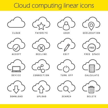 data storage device: Cloud computing linear icons set. Geo location, favorite, free space, device connection and turn off symbols. Cloud computing concepts. Online data storage thin line isolated vector illustrations Illustration