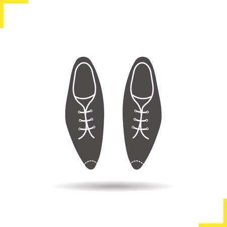 shoelaces: Mens shoes icon. Drop shadow leather shoes silhouette symbol.  Male classical footwear with shoelaces. Mens shoes logo concept. Vector varnished leather shoes isolated illustration
