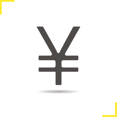 yen sign: Yen sign icon. Drop shadow Japan sign silhouette symbol. Japan currency symbol. Yen sign  concept. Vector Japan yen sign isolated illustration