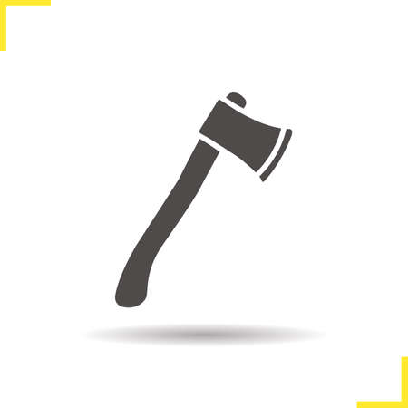 hatchet: Ax icon. Isolated ax illustration. Drop shadow hatchet icon. Camping equipment. Wood cutter. Ax  concept. Vector axe. Silhouette ax symbol. Hatchet icon. Isolated hatchet illustration