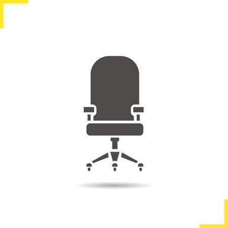 furniture computer: Computer chair icon. Drop shadow office chair silhouette symbol. Comfortable computer chair. House and office furniture. Computer chair  concept. Isolated vector illustration