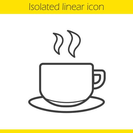 dessin au trait: Coupe linéaire icône. Hot torride tasse de café mince ligne illustration. Tasse à thé de symbole de contour. Vecteur isolé dessin de contour Illustration