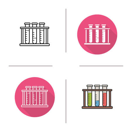 test tubes: Test tubes flat design, linear and color icons set. Chemical laboratory tubes. Lab tubes. Contour and long shadow symbols. Test tubes logo concepts. Isolated vector illustrations. Infographic elements