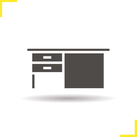 study icon: Desk icon. Drop shadow writing desk silhouette symbol. Writing desk with drawers. Wooden writing desk. Office and house furniture. Desk  concept. Isolated vector illustration
