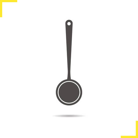ladle: Ladle icon. Drop shadow ladle silhouette symbol. Kitchen utensil. Cooking instrument. Household kitchenware. Ladle device  concept. Vector ladle isolated illustration