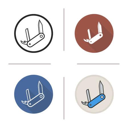 temperino: design piatto Temperino, lineare e colori impostare le icone. coltello da tasca in diversi stili. Boy Scout spedizione coltello. concetto lunga ombra. Illustrazioni isolate vettore temperino. elementi infographic