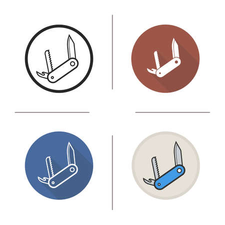 penknife: Penknife flat design, linear and color icons set. Pocket knife in different styles. Boy scout expedition knife. Long shadow  concept. Isolated vector penknife illustrations. Infographic elements