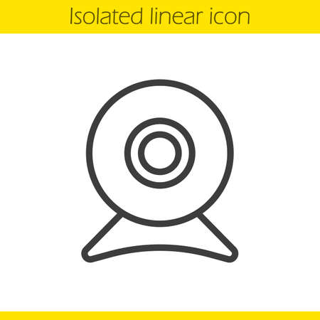 digicam: Webcam linear icon. Modern portable computer device thin line illustration. Web camera contour symbol. Vector isolated outline drawing