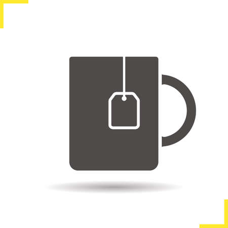 teabag: Teacup icon. Drop shadow teacup with teabag silhouette symbol. Hot drink cup. Hot drink logo concept. Vector teacup with teabag isolated illustration