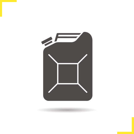 benzine: Pertol jerrycan icon. Drop shadow gasoline silhouette symbol. Benzine canister. Vector isolated illustration