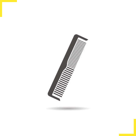 hair brush: Comb icon. Drop shadow hair brush silhouette symbol. Men and women comb. Vector isolated illustration