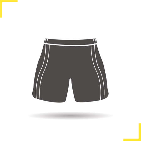 Shorts icon. Drop shadow sport shorts silhouette symbol. Sportswear. Soccer player uniform. Vector isolated illustration