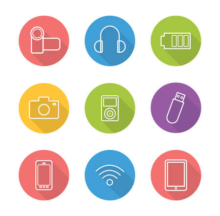 consumer electronics: Consumer electronics flat linear long shadow icons set. Modern gadgets. Smartphone, tablet computer and camera. Outline consumer electronics  concepts. Vector illustrations Illustration