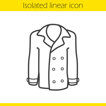 outerwear: Coat linear icon. Men and women seasonal leather outerwear thin line illustration. Jacket contour symbol. Vector isolated outline drawing Illustration