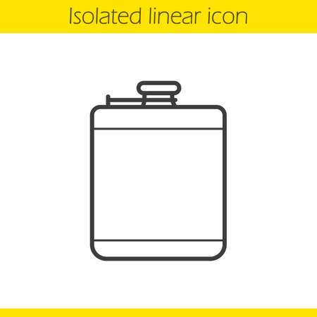 hip flask: Hip flask linear icon. Mens personal accessory thin line illustration. Alcohol flask contour symbol. Vector isolated outline drawing