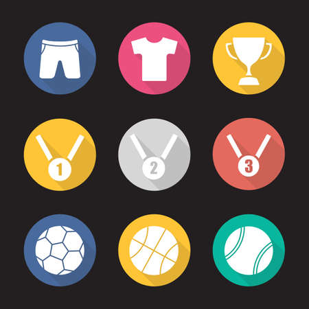 award ceremony: Sport equipment flat design long shadow icons set. Award ceremony items. Winner cup. Gold, silver and bronze medals. Basketball, tennis and soccer balls. Sport uniform. Vector symbols Illustration