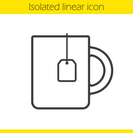 teacup: Teacup linear icon. Thin line illustration. Hot drink mug. Contour symbol. Teacup with teabag  concept. Vector isolated outline drawing