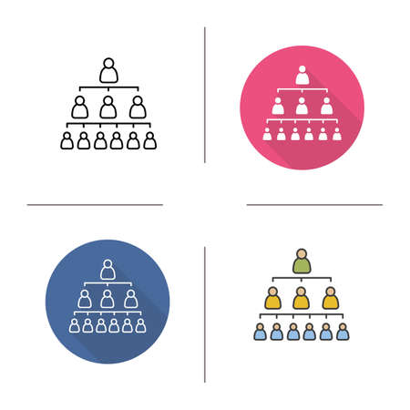 jerarqu�a: Company hierarchy flat design, linear and color icons set. Group structure. Leadership. Contour and long shadow symbols. Hierarchy logo concepts. Isolated vector illustrations. Infographic elements Vectores