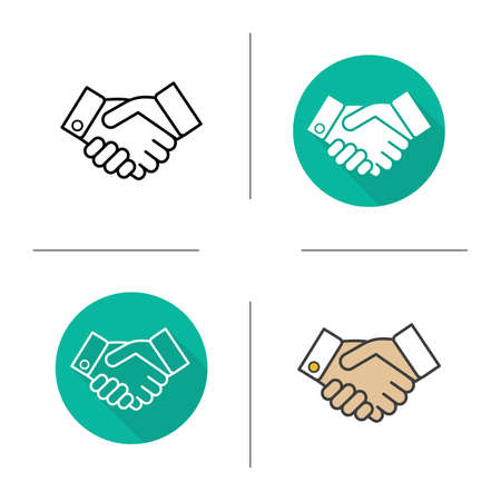 agreement shaking hands: Handshake flat design, linear and color icons set. Business agreement. Partnership. Contour and long shadow symbols. Shaking hands  concepts. Isolated vector illustrations. Infographic elements Illustration