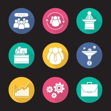 ビジネス フラット デザインの長い影アイコンを設定します。チームのコミュニケーション、販売目標到達プロセスとオフィス ワーカー。会議スピーカー表彰台と成長のグラフ。仕事とビジネス。ベクトル シンボル