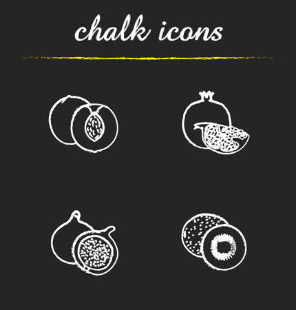 fig: Fruit icons set. Apricot, pomegranate, fig and kiwifruit illustrations. Tropical fruit isolated vector chalkboard drawings