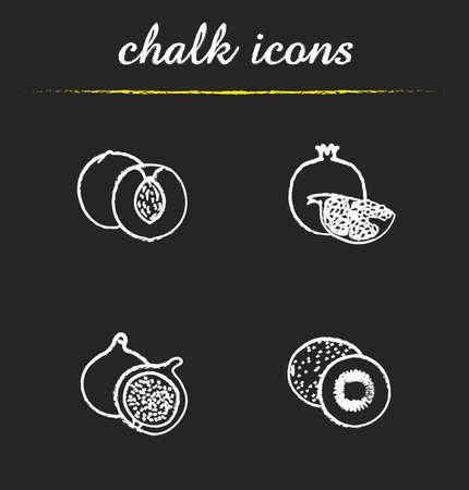 kiwi fruta: Iconos de la fruta. Albaricoque, granada, higo y kiwi ilustraciones. frutas tropicales dibujos pizarra aislada del vector Vectores