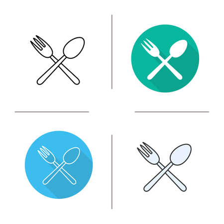 silverware: Spoon and fork icon. Flat design, linear and color styles. Kitchen tools. Silverware isolated vector illustrations