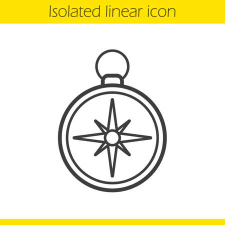drawing instrument: Compass linear icon. Pocket compass thin line illustration. Navigation and orientation instrument. Contour symbol. Compass  concept. Vector isolated outline drawing Illustration