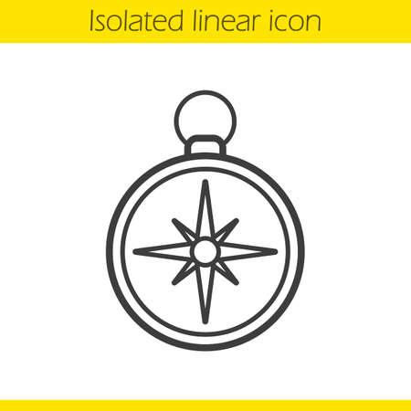 Kompass linear-Symbol. Taschenkompass dünne Linie Illustration. Navigation und Orientierung Instrument. Contour-Symbol. Compass-Konzept. Vector isoliert Umrisszeichnung