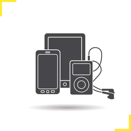 mp3 player: Electronics gadgets icon. Drop shadow smartphone, tablet pc and mp3 player with earphones silhouette symbol. Multimedia electronic devices. Electronic gadget  concept. Isolated vector illustration
